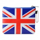 UK National Flag Pattern PU Wallet - White +Red + Blue
