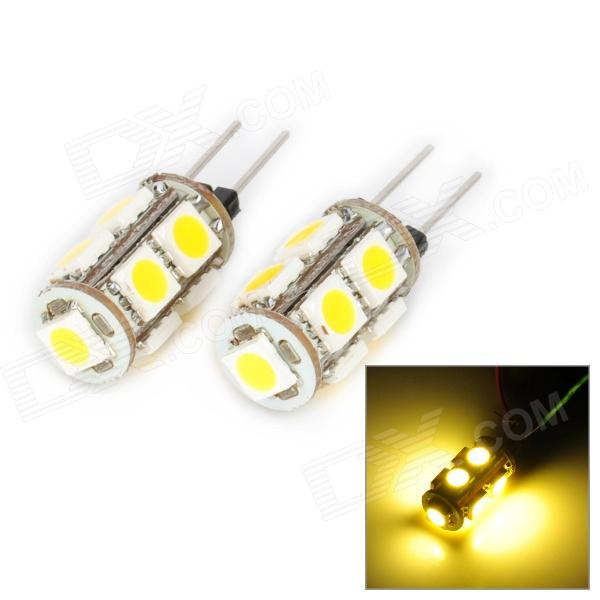 DianZi 109CNW G4 1.62W 168lm 9-SMD 5050 LED Warm White Light Car Decoration Lamp (12V / 2 PCS) dianzi 109cw g4 1 62w 207lm 9 smd 5050 led white light car decoration lamp 12v 2 pcs