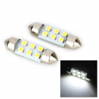 Festoon 36mm 1W 100lm 6-SMD 1210 LED White Light Car License Plate Lamp (12V / 2 PCS)