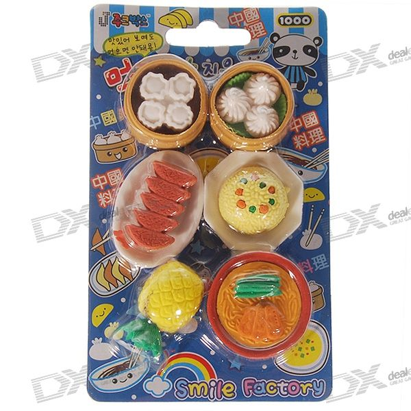 Cute Realistic Food Dish Pencil Eraser (Assorted) practical pencil rubber eraser white