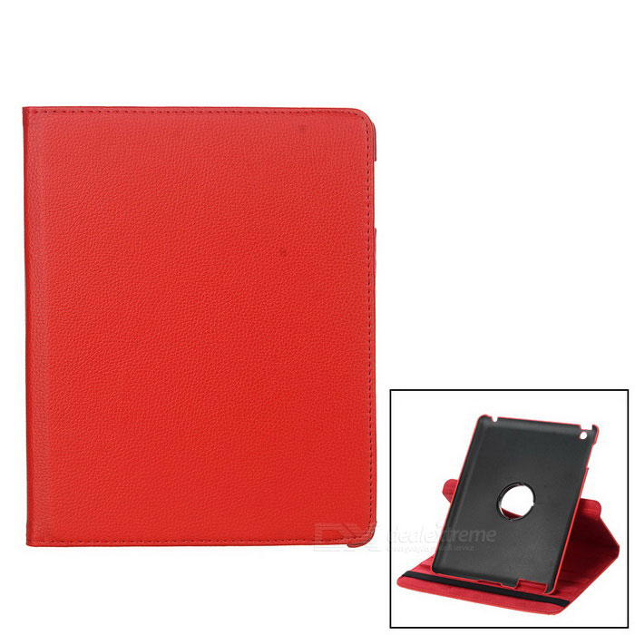 Lychee Pattern Protective Swivel Rotating PU Leather Case for Ipad 2 / The New Ipad - Red