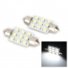 Festoon 39mm 1.2W 130lm 9-SMD 1210 LED White Light Anti-Seismic Car Reading Lamp (12V / 2 PCS)
