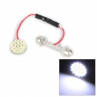T10 / Spring Festoon 1.3W 132lm 22-SMD 3020 LED White Light Car Reading Lamp (12V / 5cm)