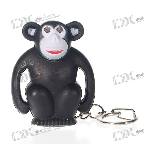 Flashing-Eyes Monkey 2-LED Flashlight Keychain with Sound Effects