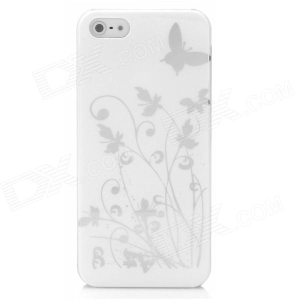 Butterfly Pattern Protective PC Plastic Case for Iphone 5 - White + Silver butterfly pattern protective abs plastic case for iphone 5 pink black