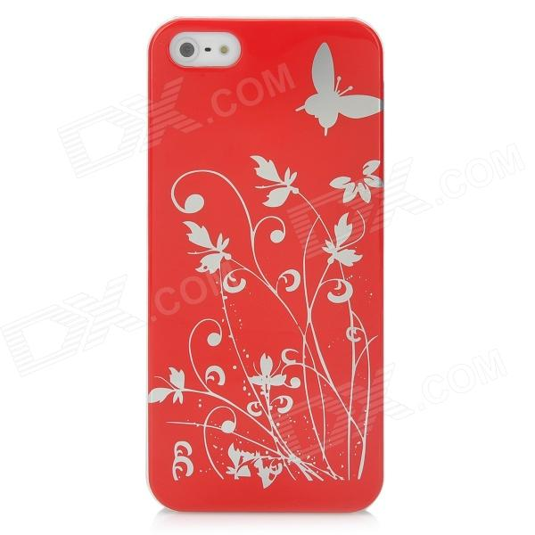 Butterfly Pattern Protective PC Plastic Case for Iphone 5 - Red + Silver butterfly