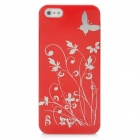 Butterfly Pattern Protective PC Plastic Case for Iphone 5 - Red + Silver