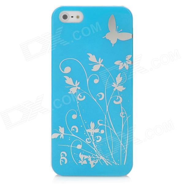 Butterfly Pattern Protective PC Plastic Case for Iphone 5 - Blue + Silver butterfly pattern protective abs plastic case for iphone 5 pink black