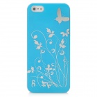 Butterfly Pattern Protective PC Plastic Case for Iphone 5 - Blue + Silver
