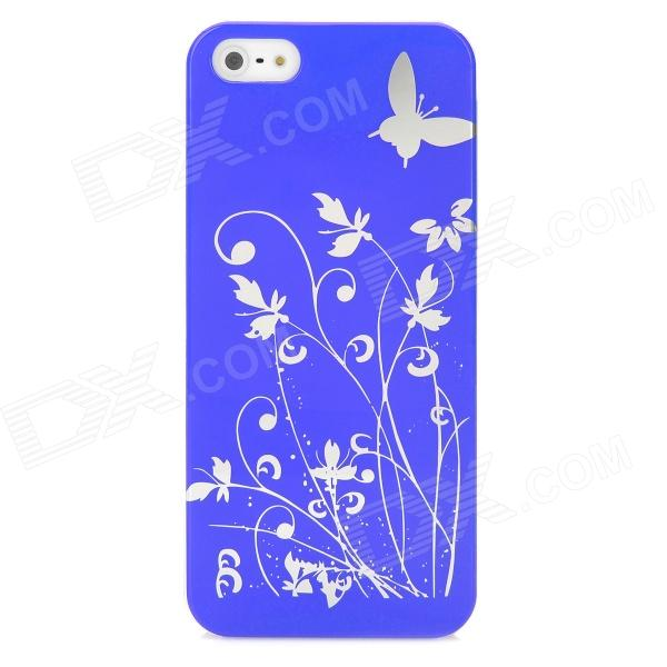 Butterfly Pattern Protective PC Plastic Case - Purple + Silver butterfly