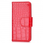 Snake Skin Style Protective PU Leather Case for Iphone 5 - Red