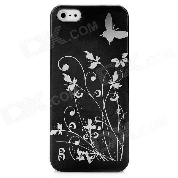 Butterfly Pattern Protective PC Plastic Case for Iphone 5 - Black + Silver butterfly pattern protective abs plastic case for iphone 5 pink black