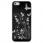 Butterfly Pattern Protective PC Plastic Case for Iphone 5 - Black + Silver