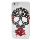 Diamond Skeleton Rose Pattern Protective PC Hard Back Case for Iphone 5 - White + Black + Red