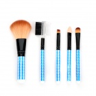 Professional Cosmetic Makeup 5-in-1 Brushes Set - Black + White + Blue