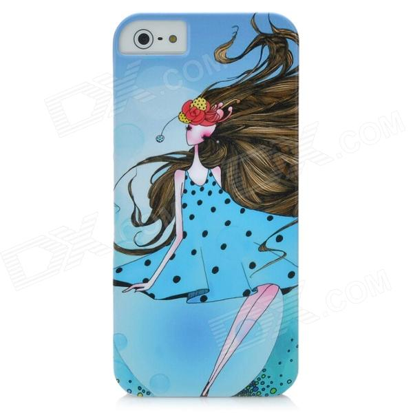 Beautiful Daisy Girl Pattern Protective PC Hard Back Case for Iphone 5 - Sky Blue cute girl pattern protective rhinestone decoration back case for iphone 5 light pink light blue