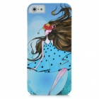 Beautiful Daisy Girl Pattern Protective PC Hard Back Case for Iphone 5 - Sky Blue