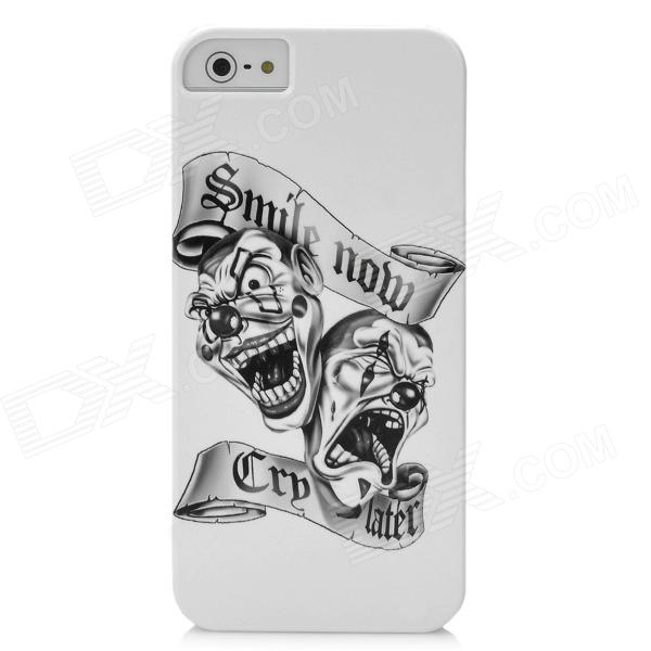 2-Ghost Smile Pattern Protective PC Hard Back Case for Iphone 5 - White + Black virgo pattern protective abs pc hard back case w rhinestone for iphone 5 deep pink white