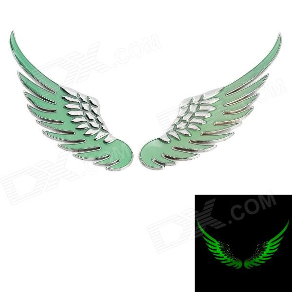 3D Glow-in-the-Dark Wing Shape Car Decoration Stickers - Silver + Green (2 PCS) glow in the dark dog footprint style decoration wall paper sticker green