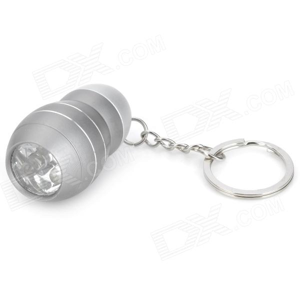 Mini Aluminum Alloy 3-LED White Light Flashlight Keychain - Grey (3 x AG10)
