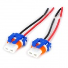 DIY Ceramic 9006 Socket Bulb Connector - Blue + White + Orange (2 PCS / 10cm-Cable)