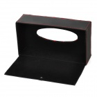 Car Artificial Leather Tissue Box Case - Black + Red
