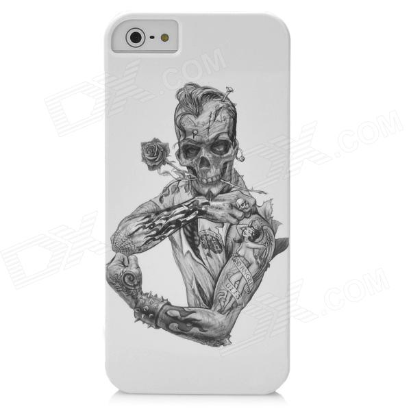 Half-Length Skeleton Rose Pattern Protective PC Hard Back Case for Iphone 5 - White + Black virgo pattern protective abs pc hard back case w rhinestone for iphone 5 deep pink white