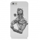 Half-Length Skeleton Rose Pattern Protective PC Hard Back Case for Iphone 5 - White + Black
