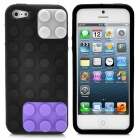 Building Block Style Protective Soft Silicone Back Case for iPhone 5 - Black + Purple + Grey