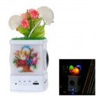 Cute Flowers LED Night Lamp Style Card Music Speaker w / SD / USB - White + Green + Pink (BL-5C)