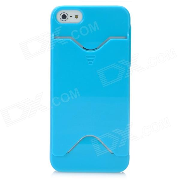 Protective Plastic Back Case w/ Card Holder for Iphone 5 - Blue protective plastic back case w card holder for iphone 5 blue