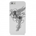 Cool Pretty Lady with Gun Pattern Protective PC Back Case for Iphone 5 - White + Grey