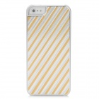 Stripe Style Protective Aluminum Alloy Back Case for Iphone 5 - Silver + Orange