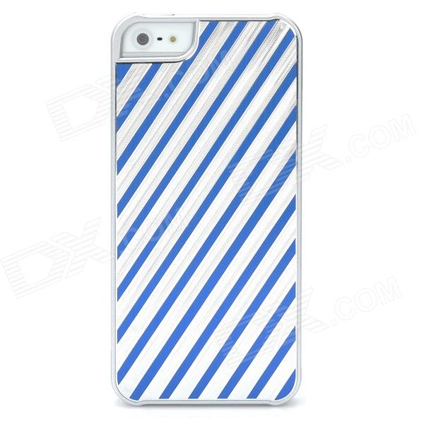 Stripe Style Protective Aluminum Alloy Back Case for Iphone 5 - Silver + Blue ipega i5056 waterproof protective case for iphone 5 5s 5c orange yellow