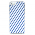Stripe Style Protective Aluminum Alloy Back Case for Iphone 5 - Silver + Blue