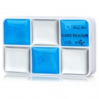 High Speed ​​TF / SD / MMC / MS / M2 / MS Pro USB 2.0 Card Reader - Silber + Blau
