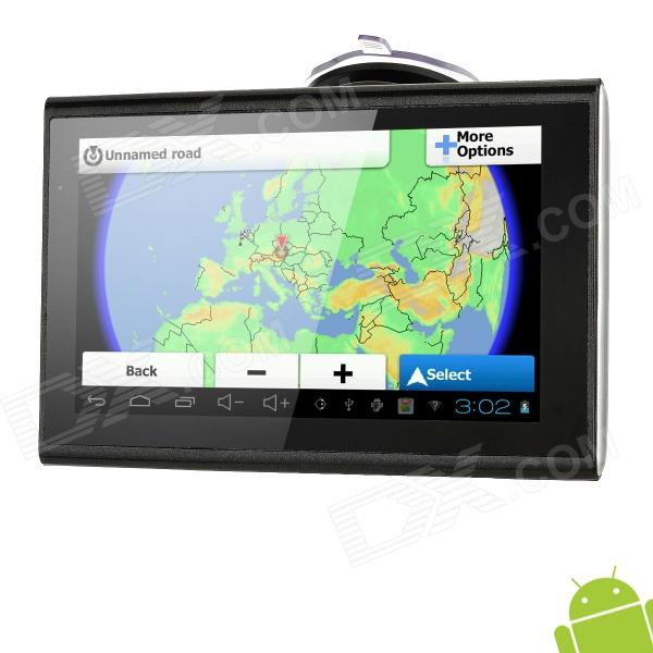 M7020 7 Resistive Screen Android 4.0 GPS Navigator w/ Europe Map / Wi-Fi - DX - DXCar GPS Navigators<br>Model: M7020 - Color: Black - Operating System: Android 4.0 - CPU: S1 cortex-A8 1GHz - GPS Module: MediaTek MT3351 - Receiver Channel Number: 20 - Hot Startup Time: 30seconds - Warm Startup Time: 20seconds - Cold Startup Time: 30seconds - Location Accuracy: 10m - Antenna: Built-in - RAM: DDR2 512MB - Memory Type: External memory - Built-in Flash Memory: 8GB - External Memory Card: TF - Max External Memory Supported: 32GB - Map Card: N/A - Support Map: IGO - Map Region: Europe - Display Size: 7 - Screen Resolution: 800 x 480Pixels - Display Type: LED - Touch Screen: Resistive Screen - OSD Language: French English German Italian Spanish Portuguese Russian Polish Finland - Video: 3GP / MP4 (Max. Resolution: 720 x 576p) - Audio: MP3 WMA WAV APE FLAC OGG AAC - Images: GIF BMP JPG PNG JPEG - E-book: TXT FB2 PDB EPUB MOBI - TV: No - FM Radio: No - FM Transmitter: 76~108MHz - Wi-Fi: Support IEEE802.11b/g/n - Bluetooth: No - Loudspeaker: Built-in - Microphone: Built-in - Camera: No - Other Functions: Games Calculator Alarm - Battery Type: Li-ion - Battery Capacity: 4000mAh - Work Time: 5hours - Charger Time: 3hours - Interfaces: 1 x TF slot 1 x Mini USB 1 x 3.5mm earphone jack - Packing List: - 1 x GPS Navigator - 1 x AC Adapter(95cm 100~240V 2-round-pin plug) - 1 x Car Charger (95cm) - 1 x USB Cable (80cm) - 1 x Car Bracket - 1 x Earphone(50cm) - 1 x Touch Pen - 1 x English manual<br>