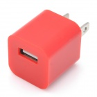 """ZY-1000 """"1000mA"""" USB Power Adapter / Charger for iPhone / iPod - Red (2-Flat-Pin Plug / 110~240V)"""