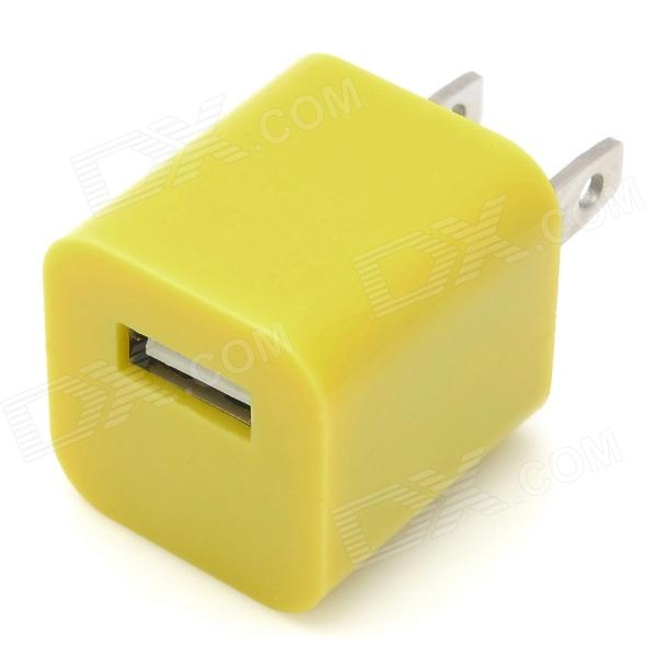 "ZY-1000 ""1000mA"" USB Power Adapter / Ladegerät für iPhone / iPod - Yellow (US-Stecker / 110 ~ 240V)"