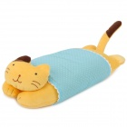 Cute Lazy Cat Figure Doll Pillow Toy - Yellow + Light Blue
