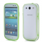Protective ABS + Silicone Bumper Frame Case for Samsung i9300 - Green + Translucent White