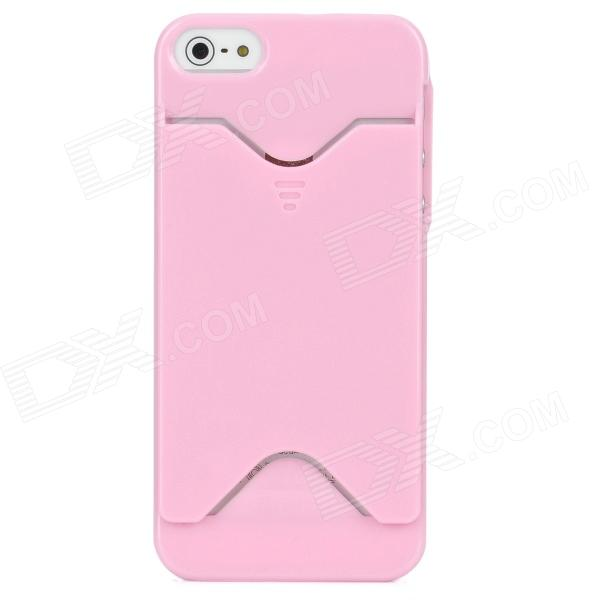 Protective Plastic Back Case w/ Card Holder for Iphone 5 - Pink protective plastic back case w card holder for iphone 5 blue
