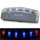 Solar Powered Safety Red + Blue 6-LED Flashing Warning Light - Silver Grey