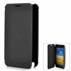 Rechargeable 3200mAh External Battery Back Case w/ PU Leather Cover for Samsung i9220 - Black