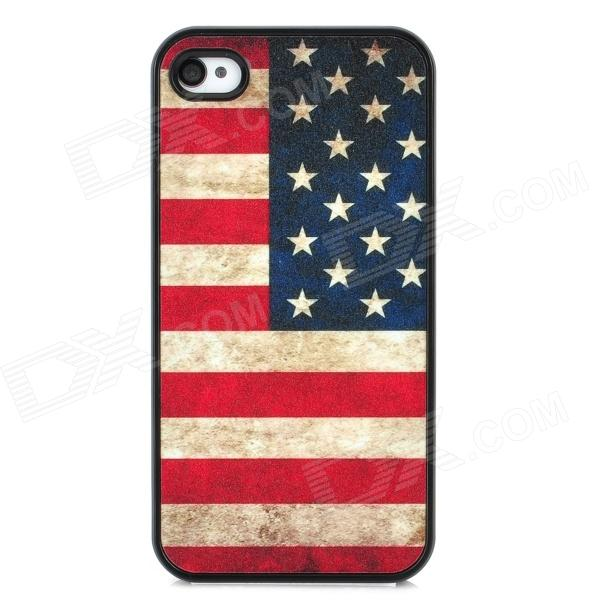 American Flag Style Protective Hard Plastic Back Case for Iphone 4 / 4S - Red + Black 1more super bass headphones black and red
