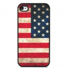 United States Flag Style Protective Hard Plastic Back Case for Iphone 4 / 4S - Red + Black