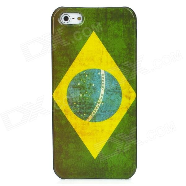 Brazil National Flag Pattern Protective Plastic Case for Iphone 5 - Green + White + Yellow eiffel tower pattern protective back case sim card adapter for iphone 5 yellow pink green