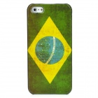 Brazil National Flag Pattern Protective Plastic Case for Iphone 5 - Green + White + Yellow