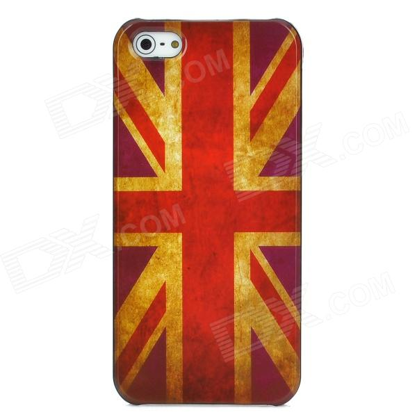Retro UK Flag Style Protective Plastic Back Case for Iphone 5 - Red retro the uk national flag pattern protective plastic back case for iphone 4 4s red white