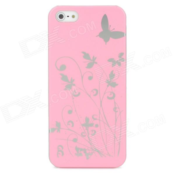 Butterfly Pattern Protective PC Plastic Case for Iphone 5 - Pink + Silver butterfly pattern protective abs plastic case for iphone 5 pink black